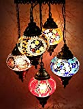 Multicolour Turkish Moroccan New Style Mosaic Hanging Lamp Light Hand Made