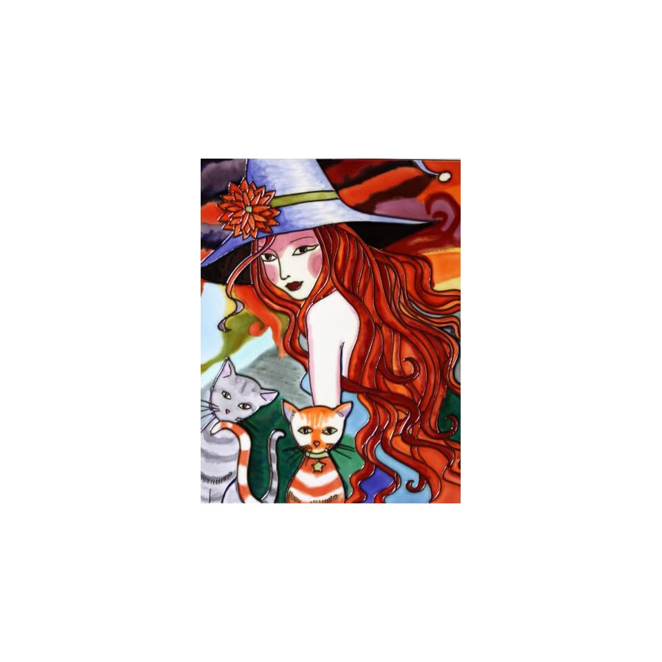 Ceramic Tile Art   Young Red Haired Girl with Cats