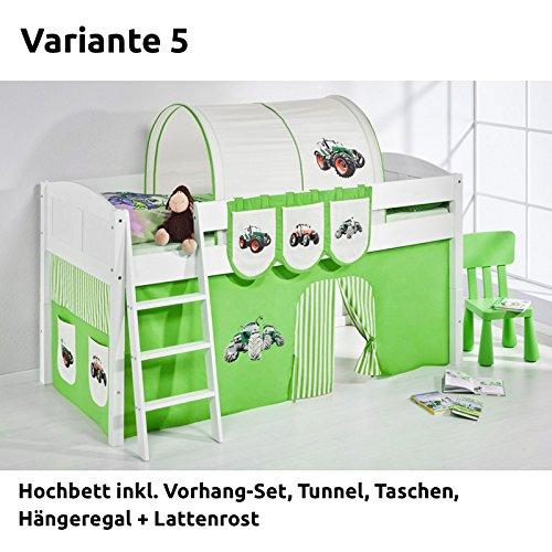 Hochbett Spielbett IDA Trecker Grün Beige, mit Vorhang, weiß, Variante 5