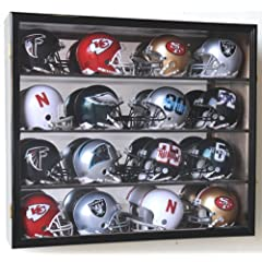 Riddell Mini Helmet Display Case Cabinet Wall Rack w UV Protection & Mirror Back by sfDisplay