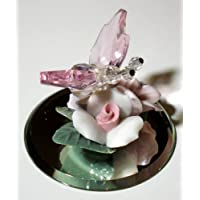 Crystal Butterfly on Ceramic Flowers