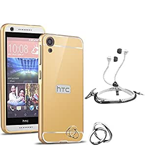 Droit Luxury Metal Bumper + Acrylic Mirror Back Cover Case For + HTC 820 Stylish Zipper Handfree and Good QualitySound by Droit Store.