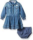 Calvin Klein Baby Girls' Long Sleeve Denim Dress and Panty, Dark Wash, 12 Months