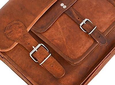 """Gusti Cuir nature """"Leon"""" sac bandoulière besace sac avec poignée cuir véritable sac en cuir classeur ordinateur portable notebook 17"""" fac sacoche business université femme homme marron U31"""