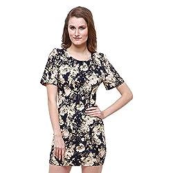 Oshea Women's Cotton Poplin Stretch Short Sleeve Tunic Dress (Floral)