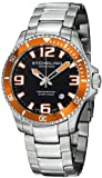 Stuhrling Original Mens 395.33I117 Aquadiver Regatta Champion Professional Diver Swiss Quartz Date Orange Bezel Watch