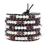 5 Row White Freshwater Cultured Pearls Simulated Purple Sea Sediment Jasper Beaded Wrap Bracelet