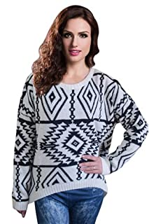 Ninimour- Women's Autumn Knitted Sweater Loose Pullover Outwear (White)