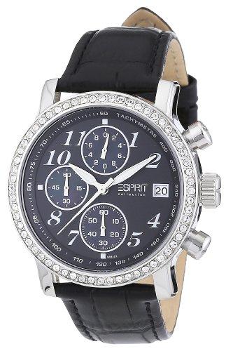 Esprit EL900322001 - Reloj cronógrafo de cuarzo para mujer con correa de piel, color negro