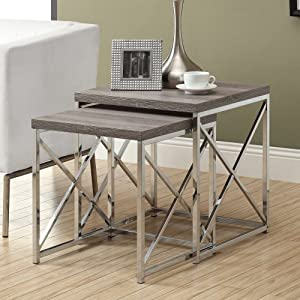 Monarch Reclaimed-Look/Chrome 2-Piece Nesting Tables, Large, Dark Taupe