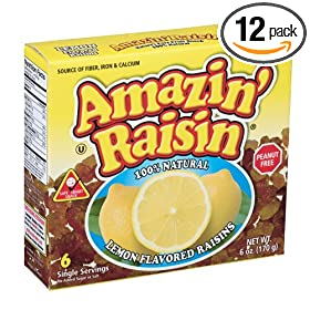 Amazin' Raisin Lemon Flavored Raisins, 6-Count Boxes (Pack of 12)