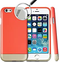 iPhone 6 Case, GMYLE [Slide Hybrid] iPhone 6 4.7 Case [Armor] SOFT-Interior Scratch Protection Metallic Finished Base with Vibrant Color Dual Layer Protection Hard Case for iPhone 6 (4.7) (2014) - Italian Rose / Champagne Gold