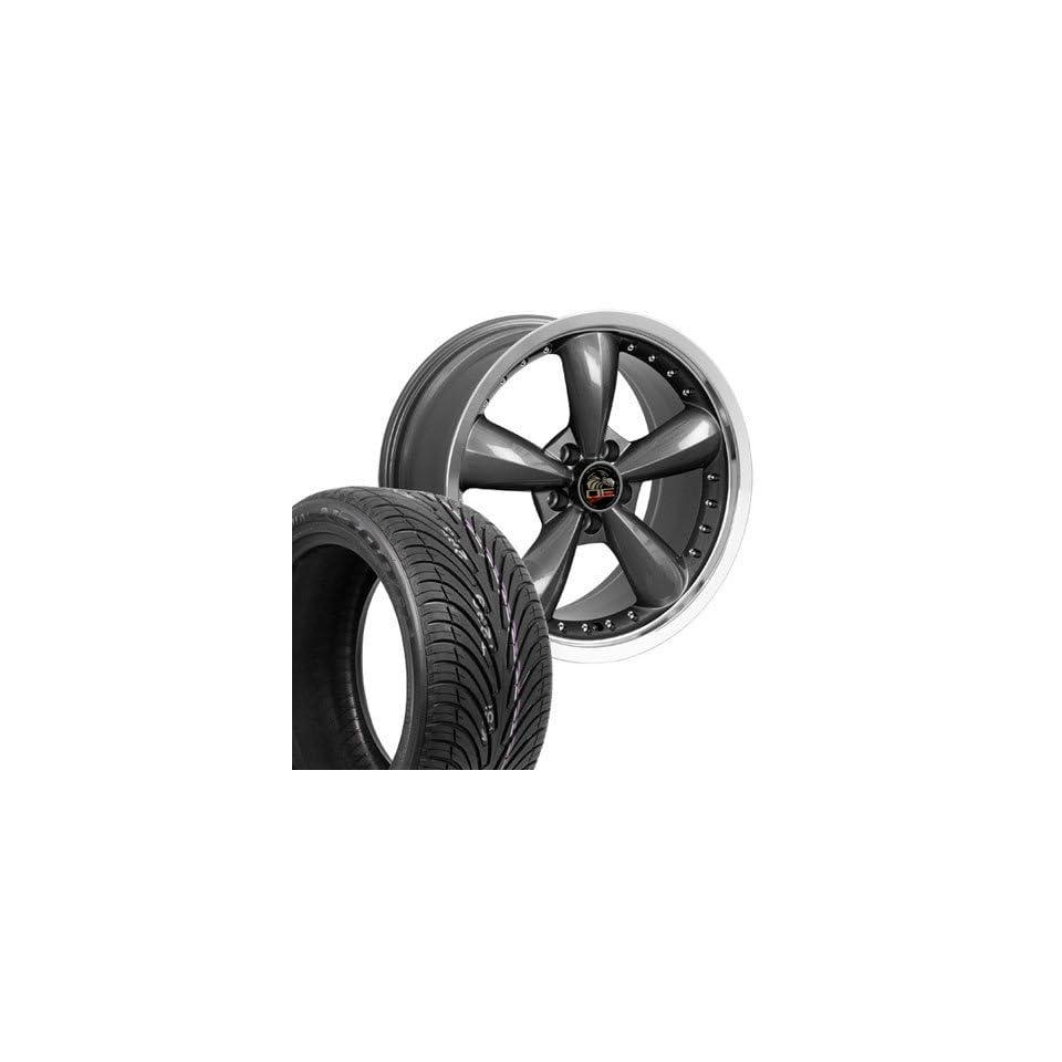 "18"" Fits Mustang (R) Bullitt   Bullet Style Deep Dish Wheels tires   Gunmetal with Rivets 18x9 Automotive"