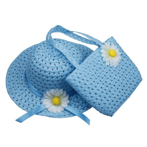 Orien Lovely Kids Girls Children Skyblue Straw Sun Beach Flower Hat Cap Handbag Set For 1-4 yearls old