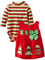 Bonnie Baby Girls Newborn Tree Appliqued Corduroy Jumper Set, Red, 3-6 Months