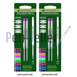 Monteverde: 4 Recharges Bille Soft Roll Rose Compatible Waterman, Pointe: M, Livrées en Blister (2 Blisters de 2 Recharges Chacun).