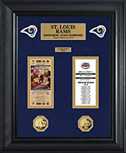 NFL St Louis Rams Super Bowl Ticket and Game Coin Collection Framed by Highland Mint