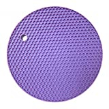 KARP Round Shape Silica Gel Anti Hot Heat Resistant Pot Holder Disc Pads Car Dashboard Anti-Slip-resistant Pad Dining Table Mat Placemat Coasters - Purple Color