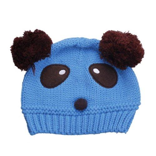 EOZY 新品五ヶ月?3歳赤ちゃんベビー耳あてニット帽子ハットキャップ可愛いパンダデザイン冬保温防寒能力一流キッズ6色選択可 (blue)
