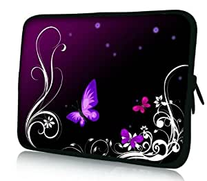 """15 inch Tablet or Laptop sleeve cover case pouch stunning Purple Floral Butterfly image. Weatherproof Neoprene protective 14"""" - 15.6"""" Laptop or Tablet case"""