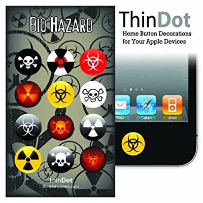 "ThinDot Home Button Stickers for iPhone, iPad and iPod Touch ""Biohazard"""