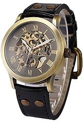 AMPM24 Men's Steampunk Bronze Skeleton Self-Winding Auto Mechanical Leather Wrist Watch PMW198