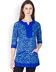 Ayaany Women Blue Cotton Printed Kurti