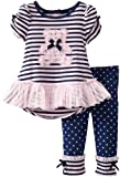 Young Hearts Baby-Girls Infant 2 Piece Stripped Bear Polka Dot Shirt And Pant