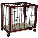 "Pawhut 37"" x 25"" x 29"" Portable Wood Pet Dog Crate w/ Wheels"