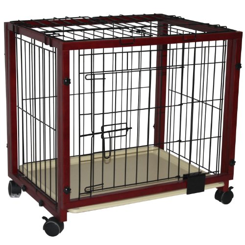 "Pawhut 37"" X 25"" X 29"" Portable Wood Pet Dog Crate W/ Wheels front-905336"