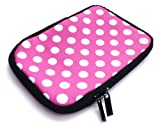 Emartbuy Polka Dots Hot Pink / White Water Resistant Neoprene Soft Zip Case/Cover suitable for IRiver Story HD eReader ( 7 Inch Tablet / eReader )