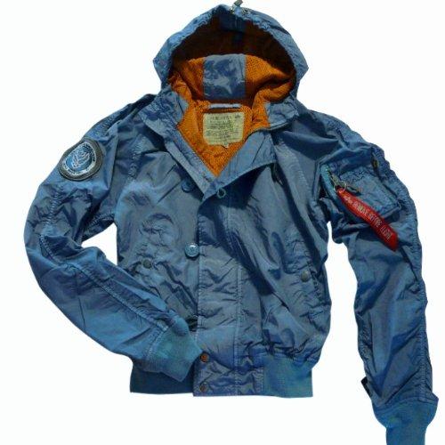 Alpha Industries Black Ace Hooded Blouson Freizeit Jacke, schwarz oder blau