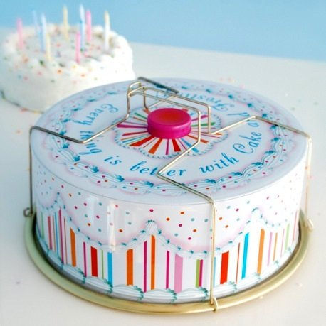 Carriers Glitterville Vintage Style Tin Birthday Cake Carrier