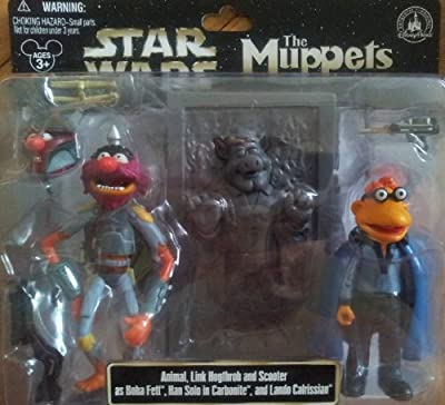 Disney Star Wars Muppets Animal Link Hogthrob Scooter as Boba Fett, Han Solo in Carbonite and Lando Calrissian Collectible Figure Set