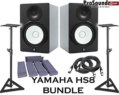 Yamaha HS8 Powered Studio Monitor Pair with XLR-Cables Insolation Monitor PAD and Speaker Stands by YAMAHA