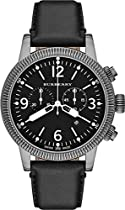 Burberry Mens BU7818 Utilitarian Black Leather Chronograph Watch