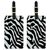 Zebra Print Black White Luggage Tags Suitcase Carry-On ID Set of 2