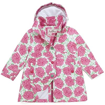 Hatley Girls Waterproof Raincoat, Rain Jacket, Pink Roses