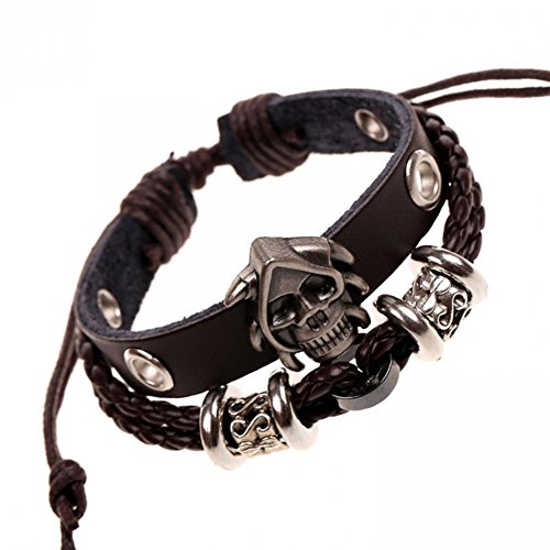 Bling moda in pelle punk rock Argento Skeleton King Charm Bracciale in pelle Bracciale Loom lb1464