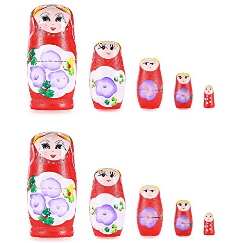 Neewer-2-Pack-Hand-Painted-Nesting-Matryoshka-Doll-5-Piece-Set-Great-Gift-for-Friends-and-Kids