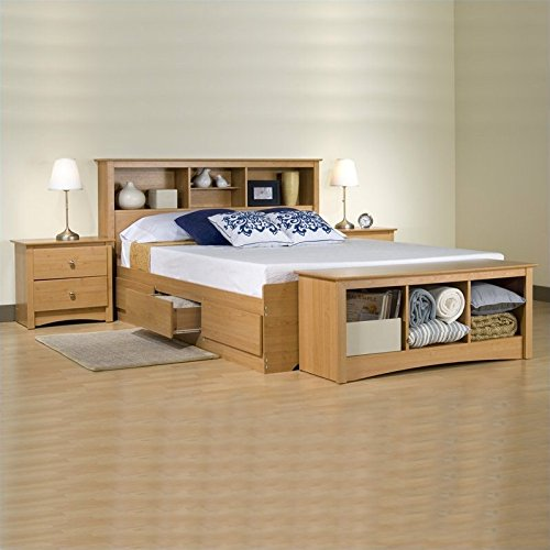 Prepac Sonoma Maple Queen Wood Platform Storage Bed 2 Piece Bedroom Set
