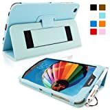 Snugg Galaxy Tab 3 8.0 Leather Case in Baby Blue - Flip Stand Cover with Elastic Hand Strap and Premium Nubuck Fibre Interior - Automatically Wakes and Puts the Samsung Galaxy Tab 3 8.0 to Sleep