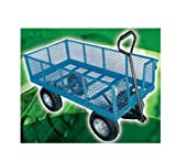 HEAVY DUTY LARGE METAL 4 WHEEL GARDEN CART TROLLEY WITH DROP DOWN SIDES ST301