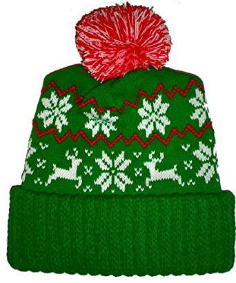 Green Reindeer Snowflake Winter Beanie Pom Hat Cap Ugly X Mas Sweater