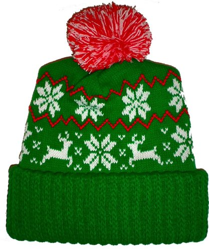 Ugly Christmas Sweater Beanie hats Green Reindeer Snowflake Winter Beanie Pom Hat Cap Ugly X