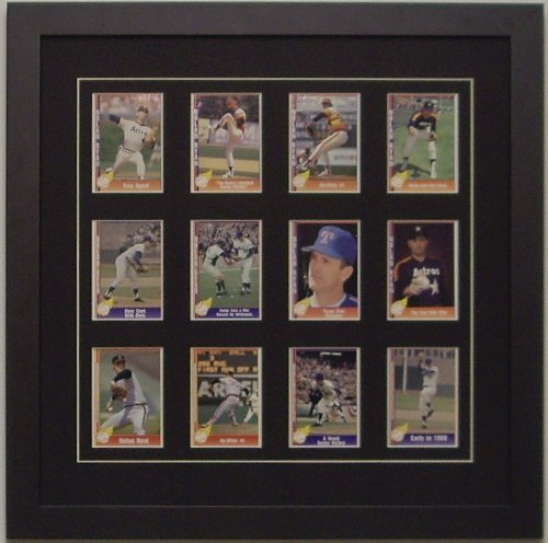 Trading Card Display Frame for 12 Standard Trading Cards -- Black Moulding with Black (White Trim) Matting (Card Display Frame compare prices)
