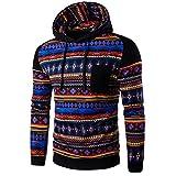 WOCACHI Herren Kapuzenpullover Männer Bohemian Retro Langarm-Kapuzenshirt mit Kapuze Sweatshirt Tops Jacken-Mantel Outwear Dunkelgrau (XL, Schwarz)