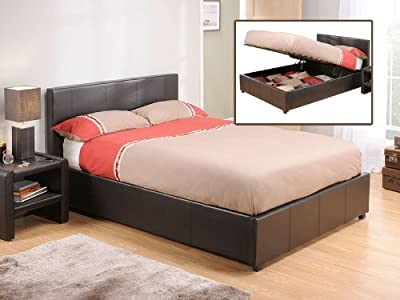 4FT6 Double Snuggle Beds Rebecca Ottoman Brown Faux Leather Storage Bed Frame
