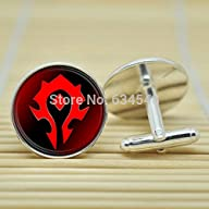 Pretty Lee Wow World Of Warcraft Horde In Silver Cufflinks Glass Cabochon Cufflinks C3118