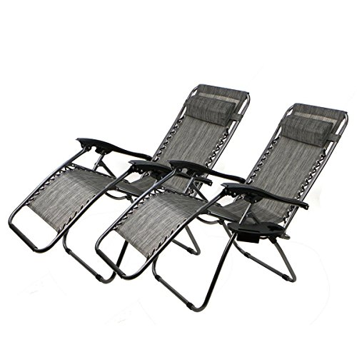 2 Chairs Zero Gravity Chair Recliner Utility Tray Pool Grey (Wheelchairs Accesories compare prices)